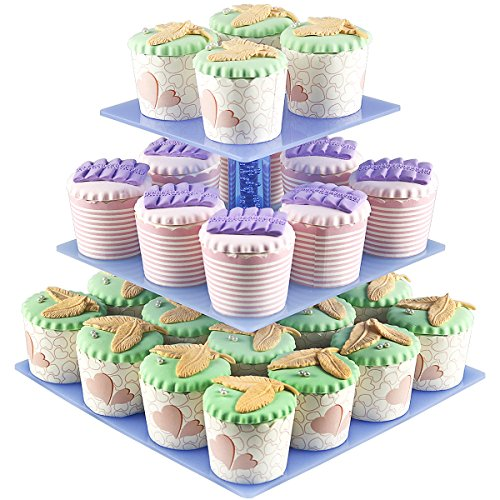 Cupcake Displays, 3 Tier Acrylic Cupcake Display Stands For Wedding Birthday Parties(Holder 28 pcs Cup Cakes + Square Racks + Mini Tower Tree+ Reusable )