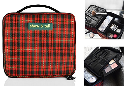 Price comparison product image Makeup Bag - Travel Cosmetics Organizer - Train Case - With Multiple Compartments - Waterproof - Durable, Cute Stylish & Fun (Red Checkered)