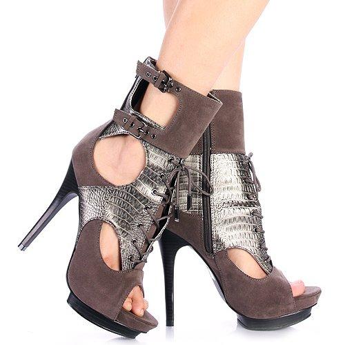 BUMPER Womens TREY-23 Gladiator Platform Boots Grey GUjDHnfenQ