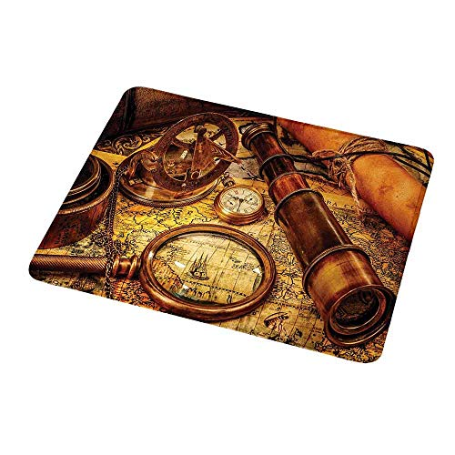 Portable Mouse pad Custom Antique,Magnifying Glass Compass Telescope and Pocket Watch on an Old Map Nautical,Orange Brown Yellow,Non-Slip Rubber Mousepad 9.8