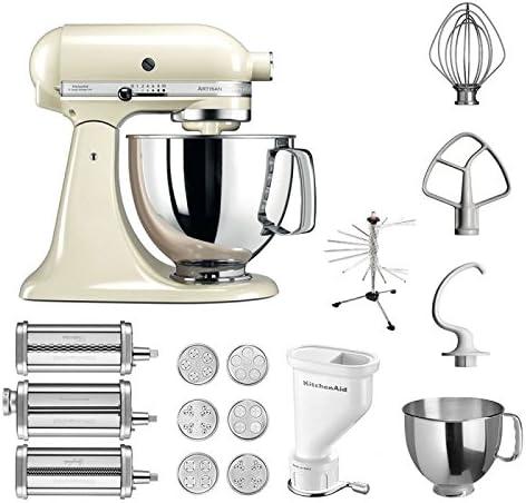 KitchenAid Artisan – Robot de cocina, 5 ksm125ps, pasta del paquete incluye Top accesorios: Pasta Snoot con 3 rodillos, pasta Prensa (Corto) con 6 boquillas, nudeltrockner y accesorios estándar beige: Amazon.es: Hogar
