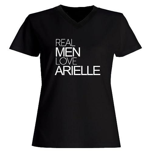 Idakoos Real men love Arielle - Nomi Femminili - Maglia a V-collo Donna