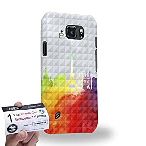 Case88 [Samsung Galaxy S6 Active] 3D impresa Carcasa/Funda dura para & Tarjeta de garantía - Art Design Drawing Paris Water Color Skyline