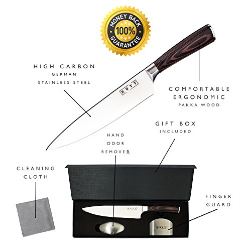 Kutt Chef Knife, 8-inch professional Kitchen Knife, German High Carbon Stainless Steel Knife, Razor Sharp Chef's Knife, Ergonomic Handle by Kutt (Image #1)