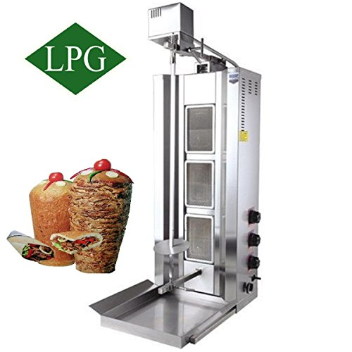 Burner Commercial Broiler - Automatic Rotating Full Set - Meat Capacity:35 kg./ 77 lb. Propane Gas 3 Burner Vertical Broiler Commercial or for Home use Shawarma Gyro Doner Kebab Tacos Al Pastor Grill Trompo Machine
