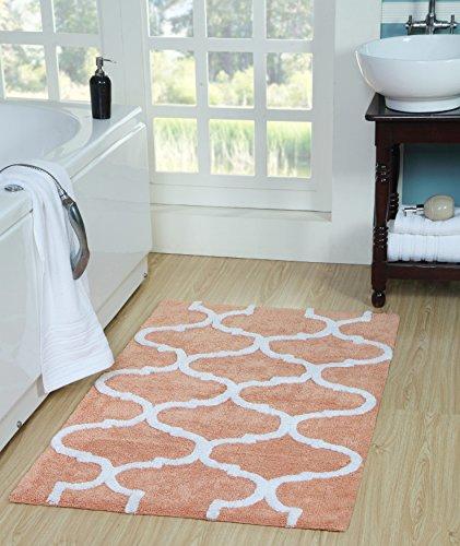 Saffron Fabs Geometric Bath Rug Cotton, 50 Inch x 30 Inch, Coral/White