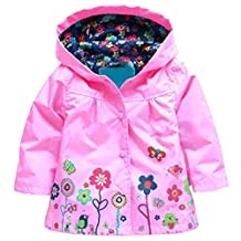 Arshiner Little Girls' Waterproof Hooded Coat Jacket Outwear Raincoat