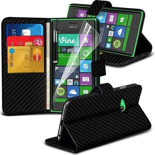Nokia Lumia 735 Carbon Cubierta del caso con cuero (Negro) Plus de regalo libre, Protector de pantalla y un lápiz óptico, Solicitar ahora mejor caja del teléfono Valorado en Amazon! By FinestPhoneCase