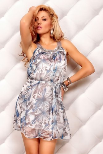italy gownplanet - Robe - Blouson - Sans manche - Femme Bleu Bleu 36