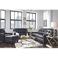 Ashley Furniture Signature Design - OKean Upholstered Leather Sofa - Contemporary - Navy
