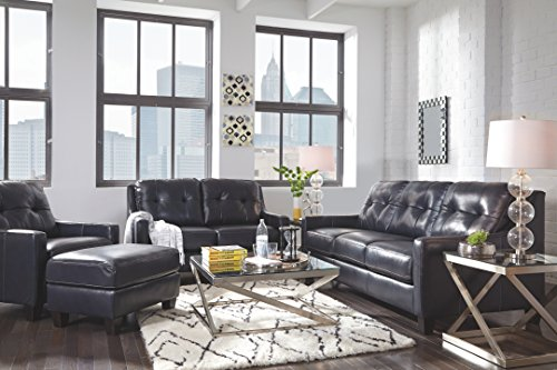 Ashley Furniture Signature Design - O'Kean Upholstered Leather Sofa - Contemporary - Navy -