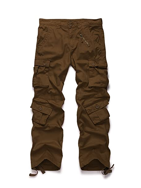 484ca2ac09 OCHENTA Men's Cotton Military Cargo Pants, 8 Pockets Casual Work Combat  Trousers