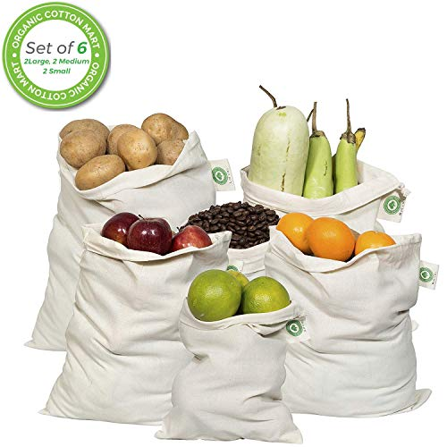 Reusable Produce Bags Cotton Washable - Organic Cotton Vegetable Bags - Cloth Bag with Drawstring - Muslin Cotton Fabric Produce Bags - Bread Bag - Set of 6 (2 Large, -