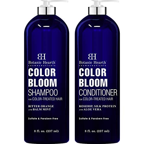 BOTANIC HEARTH Shampoo and Conditioner for Color Treated Hair - with Special Blend of Conditioning, Smoothing and Color Enhancing Ingredients - Paraben and Sulfate Free Set - 8 fl oz x 2 (Best Conditioner And Shampoo For Colored Hair)