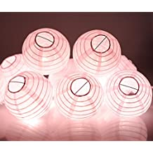 "Paper Lantern String Lights KI Store Set of 10 Extendable Plug-in Oriental Style Lanterns with Lights for Weddings Parties Bedroom Nursery Decoration 4""(Pastel Pink)"