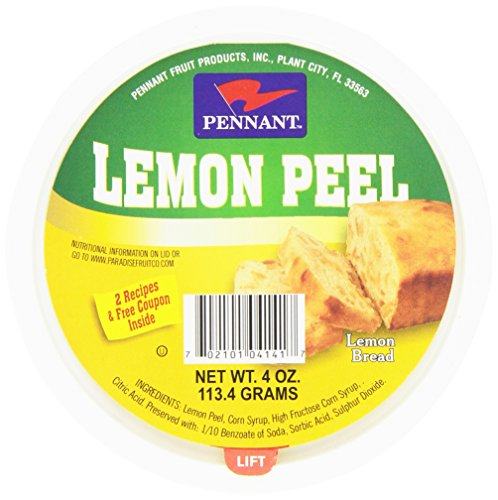 Pennant Diced Lemon Peel, 4 Ounce Tubs (Pack of 12)