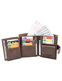 Trifold Wallet Mens Wallets Card Holder Case Leather Wallets with Double ID Windows