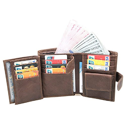 Trifold Wallet Mens Wallets Card Holder Case Leather Wallets with Double ID (Big Wallet)