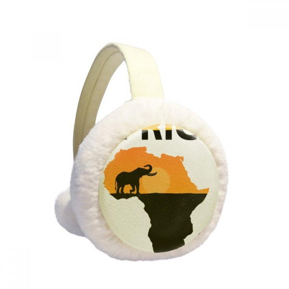 Africa Map Savanna Elephant Wildlife Winter Earmuffs Ear Warmers Faux Fur Foldable Plush Outdoor Gift