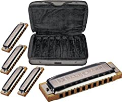 The Hohner Case of Blues harmonica bundle saves you money on the purchase of 5 Blues Harps, and you get a durable road case for free! Dig in deep and experience the raw power and grit of the blues. The Hohner Blues Harp is engineered for cons...