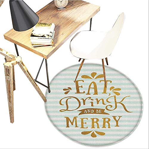 Eat Drink and Be Merry Round Area carpet,Christmas Typography Greeting Tradition Western Holiday Design Print,Living Room Bedroom StudyNon-Slip Round Carpet,3-Feet Diameter,Ginger Mint Green White
