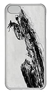 Slim iphone 5C Transpartent Case Abstract Painting Intense Chasing Custom Snap on Fits Hard Back Case for iphone 5C