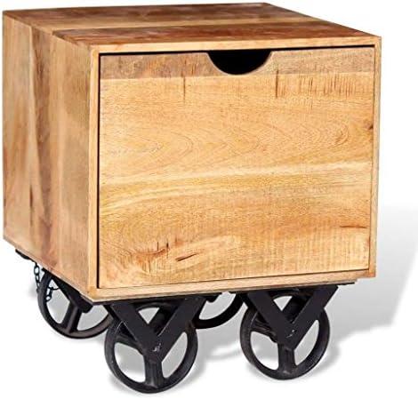 Aankoop Tidyard nachtkastje koffietafel bijzettafel in industriële stijl met 1 lade en 4 wielen, salontafel woonkamerkast zijkast 40 x 40 x 45 cm, mangohout + ijzeren wielen  n2dEET9
