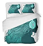 Emvency 3 Piece Duvet Cover Set Breathable Brushed Microfiber Fabric Music Profile of Pretty Girl with Long Hair in Headphones Dance Fun Listen Woman Bedding with 2 Pillow Covers Full/Queen Size