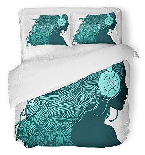Emvency 3 Piece Duvet Cover Set Breathable Brushed Microfiber Fabric Music Profile of Pretty Girl with Long Hair in Headphones Dance Fun Listen Woman Bedding Set with 2 Pillow Covers Twin Size