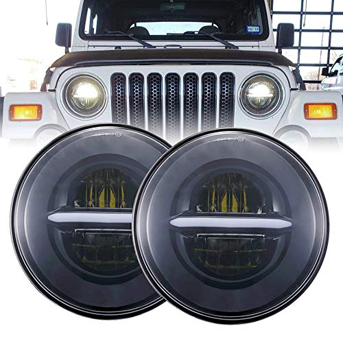 BICYACO DOT 7 Inch Round Black LED Headlight High Low Beam with White Halo DRL for Jeep Wrangler JK TJ LJ CJ Hummer H1 H2 (1 Pair) (Headlight Fj Cruiser Covers)