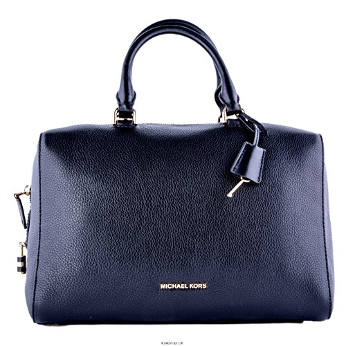 Michael Kors Kirby Large Leather Satchel in Navy