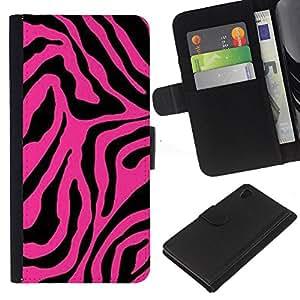 Sony Xperia Z4 / Sony Xperia Z4V / E6508 Modelo colorido cuero carpeta tirón caso cubierta piel Holster Funda protección - Pink Black Pattern Animal Abstract