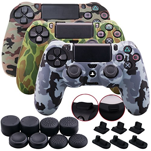 - 9CDeer 3 Pieces of Silicone Water Transfer Protective Sleeve Case Cover Skin + 8 Thumb Grips Analog Caps + 3 sets of dust proof plug for PS4/Slim/Pro Controller, Camouflage Brown Grey Green