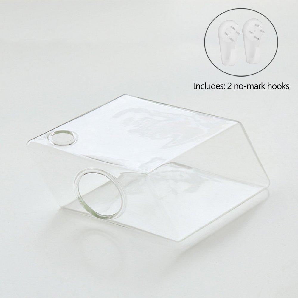 Mkono 2 Pack Wall Hanging Plant Terrarium Glass Planter for Home Decor, Diamond Shape