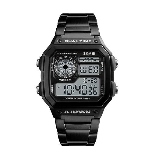 Reloj Digital Resistente al Agua, Relojes de Moda para Hombres Cuadrados al Aire Libre,