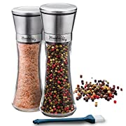 #LightningDeal 95% claimed: Salt and Pepper Shakers Grinders Set of 2 Glass Mills Brushed Stainless Steel with Adjustable Ceramic Rotor and Utility Brush by Wonder Sky