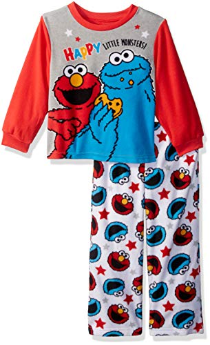 Sesame Street Boys' Toddler Elmo and Cookie Monster 2-Piece Pajama Set, Happy, 3T