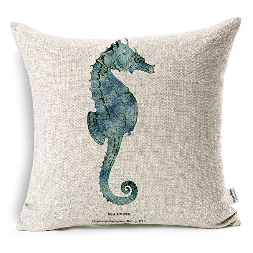 - Kingla Home Coastal Theme Seahorse Decorative Throw Pillow Covers 18 X 18 Inch Cotton Linen Square Cushion Covers for Sofa Outdoor Pillow Case