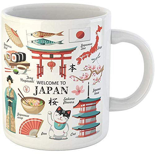 Landmark Collection - Personalized 11 Ounces Funny Coffee Mug Japanese Welcome to Japan Capital Red Collection Landmark China Ceramic Coffee Mugs Tea Cup Souvenir