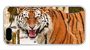 Fashion iphone 5 wholesale cover King of the beasts the tiger PC White for Apple iPhone 5/5S