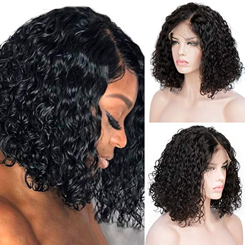 Curly Bob Lace Wigs Human Hair Brazilian Remy Full End 13x4 Lace Front Wavy Wigs for Women Pre Pluck Middle Part Black - Full Lace Wig Remy