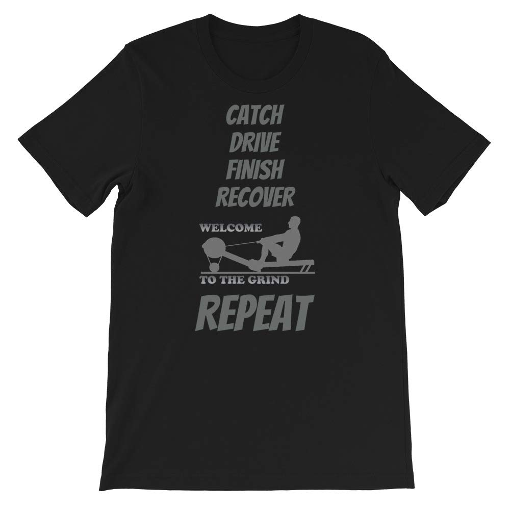 JustCoolMerch Mens T-Shirt Rowing Ergometer Gym Exercise Workout