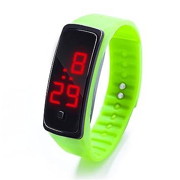 Pulsera deportiva de silicona, con pantalla LED, para correr, para niños y adultos, unisex , 0.09, color verde: Amazon.es: Deportes y aire libre