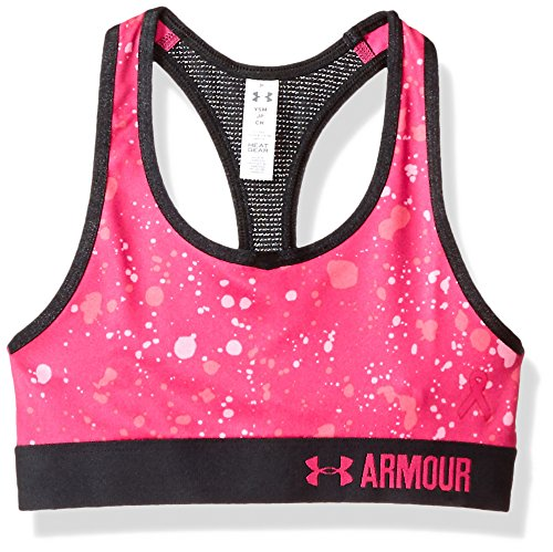 Under Armour Girls HeatGear Armour Printed Sports Bra,Tropic Pink /Tropic Pink, Youth Small
