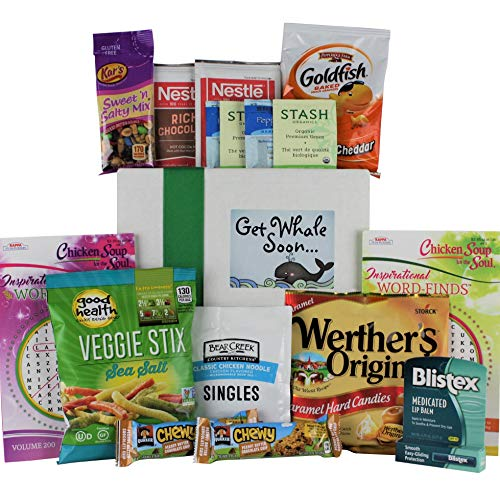 Get Well Soon Gifts Basket for Women, Men. Care Package Crate Box. Get Well Kit, Filled with Chicken Noodle Soup, Tea, Snacks & More. Sickness, Cold, Flu, Injury, After Surgery, Illness and Recovery