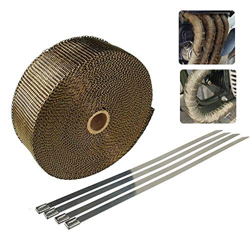 LAYOPO Exhaust Heat Wrap 1inchx16.4ft Exhaust Tape Titanium Lava Fiber Exhaust Header Wrap for Car Motorcycle with 4pcs Stainless Ties