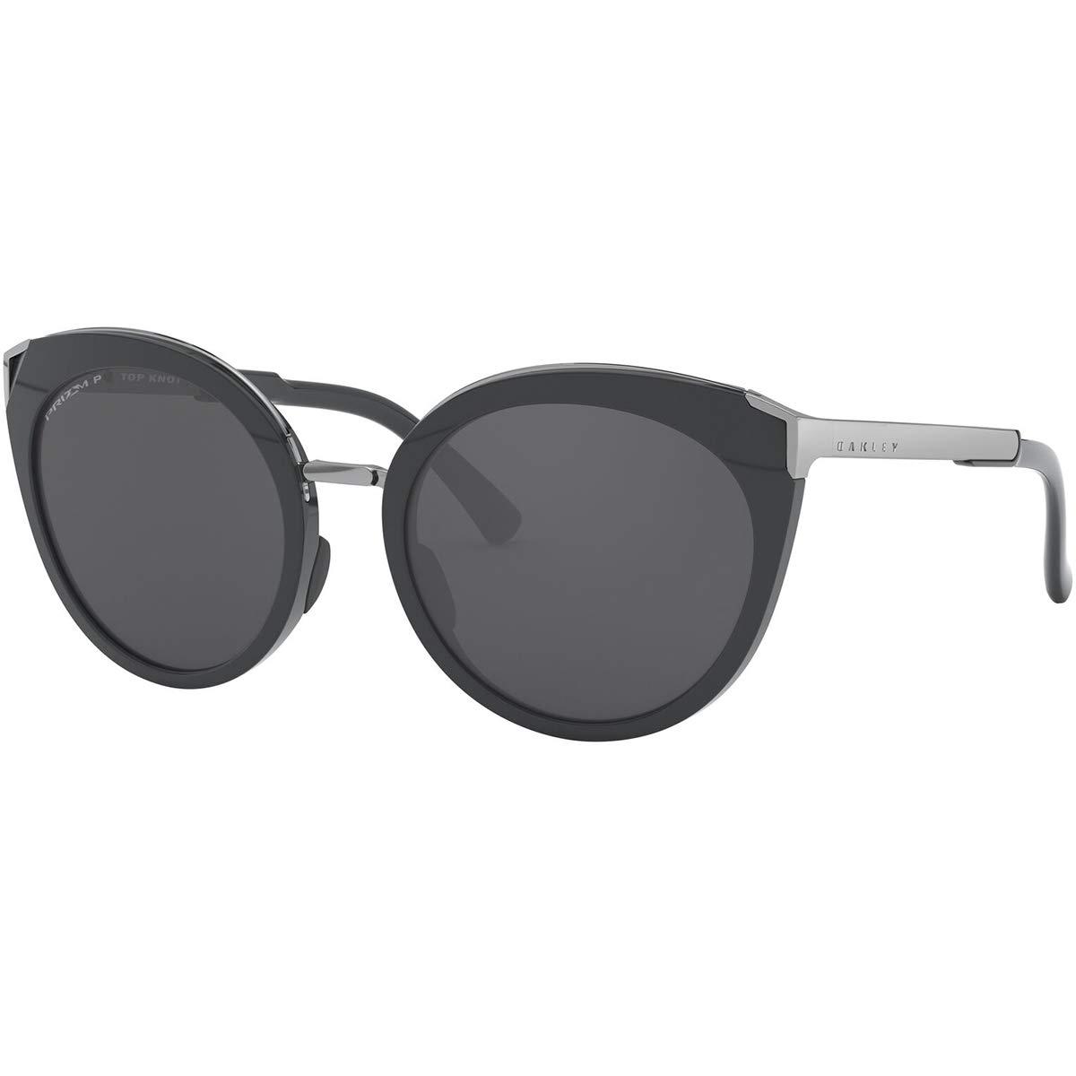 Oakley Women's OO9434 Top Knot Cat Eye Sunglasses, Carbon/Prizm Black Polarized, 56 mm by Oakley