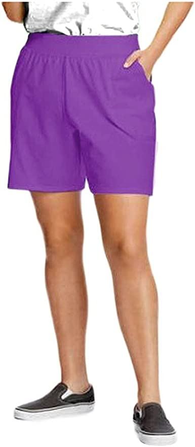 Just My Size 4X Cotton Blend Wide Band Stretch Waist Pocket Shorts  Purple Red