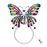 SENFAI Enamel Colorful Butterfly Abalone shell Crystal Magnet Eyeglass Holder Brooch and Pin