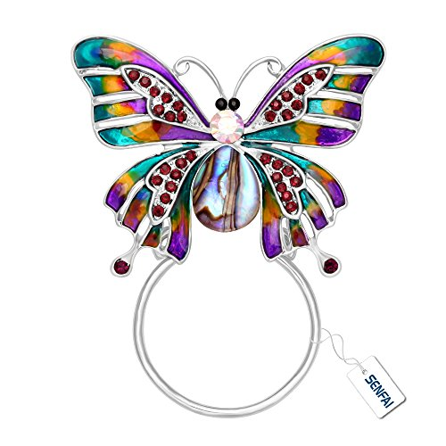SENFAI Enamel Colorful Butterfly Abalone Shell Crystal Magnet Eyeglass Holder Brooch and Pin (Silver)